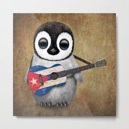 Baby Penguin Playing Cuban Flag Guitar Metal Print