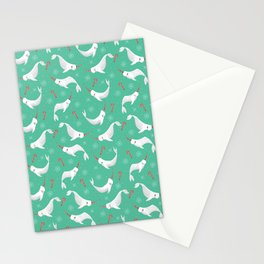 Candy Cane Narwhals 2020 version Stationery Cards