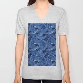 Palm Leaf Monstera Blue Jeans Denim Tropical Summer Design Unisex V-Neck