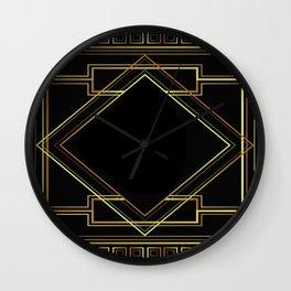 art deco gatsby black and gold lines geometric pattern Wall Clock