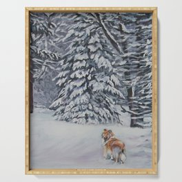 Beautiful Rough Collie Dog in the Snow Painting from an original painting by L.A.Shepard Serving Tray
