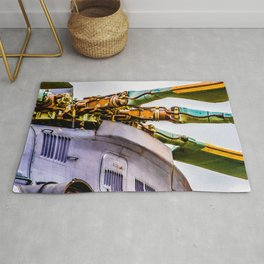 Rotor Blades Of A Modern Transport Helicopter. Aviation Art Rug