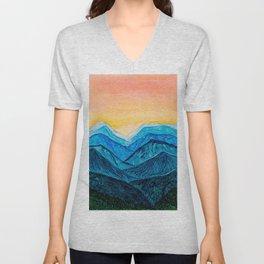 Blue Ridge Mountain Sunset Unisex V-Neck