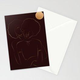 African American couple magic melanin beauty, dark skin girl, black girl, afro girl, loving couple, happy couple Stationery Cards