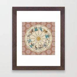 Vintage Astrology Zodiac terracotta Framed Art Print