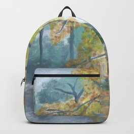 Spring Trees Reflecting Over Lake Backpack