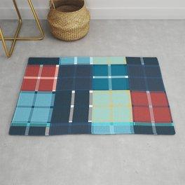 Colored vector design, tartan fabric pattern, blue color Rug