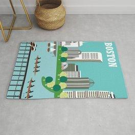 Boston, Massachusetts - Skyline Illustration by Loose Petals Rug