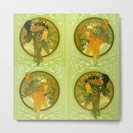 "Alphonse Mucha ""Byzantine Heads: The Blonde and The Brunette"" Metal Print"