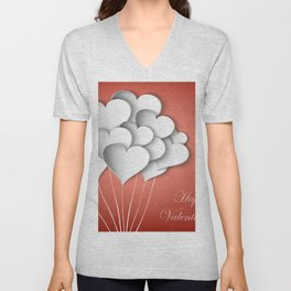 Balloons hearts from paper Valentine's Day Unisex V-Neck