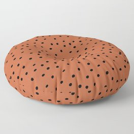 Mudcloth Polka Dots in Terracotta + Black Floor Pillow