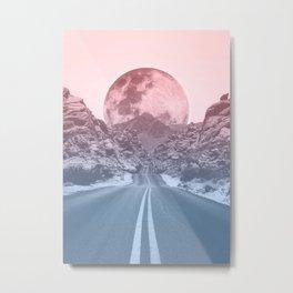 Bicolor Road Red Moon Metal Print