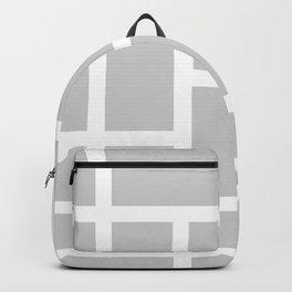 Light Gray and White Rectangular Geometric Block Art Design Backpack