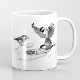 Chickadees eating from hand Coffee Mug