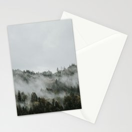 Pines at the mountain in the fog | Colourful Travel Photography | Ossiacher See, Villach, Austria (Europe) Stationery Cards