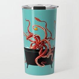 Giant Squid in Bathtub Travel Mug
