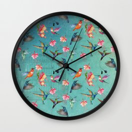 Vintage Watercolor hummingbirds and fuchsia flowers Wall Clock