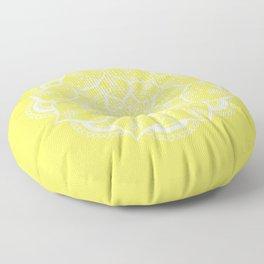 Mellow Yellow Flower Mandala Floor Pillow