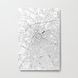 Charlotte White Map Metal Print