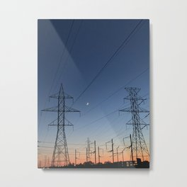 crescent moon and power lines Metal Print