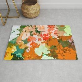 Velvet Floral, Summer Eclectic Botanical Blossom Blush Painting, Nature Colorful Garden Illustration Rug
