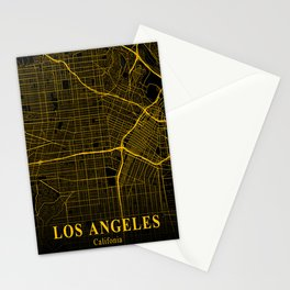 Los Angeles California City Map | Gold USA City Street Map | America Cities Maps Stationery Cards