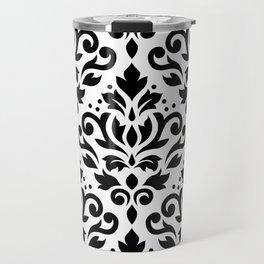 Scroll Damask Large Pattern Black on White Travel Mug
