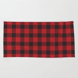 Buffalo Check - black / red Beach Towel