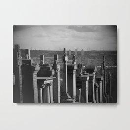 Glasgow Necropolis Graveyard Black And White Metal Print
