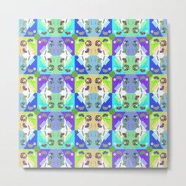 Chequered Rainbow Minty Kaleidoscope Memphis Design Metal Print