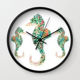 Colorful island flowers seahorse illustration Wall Clock