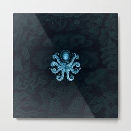 Octopus2 (Blue, Square) Metal Print