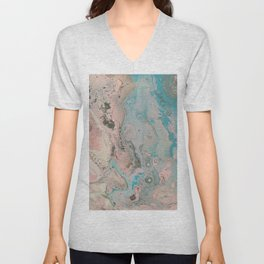 Fluid Art Acrylic Painting, Pour 17, Pastel Pink, Blue, Gray & White Blended Color Unisex V-Neck