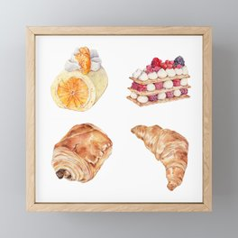 Sweet Time, Watercolor Dessert - Mille-Feuilles, Swiss Roll, Croissant, Pain au chocolat Framed Mini Art Print