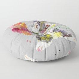 Bunny With flower Floor Pillow