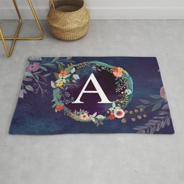 Personalized Monogram Initial Letter A Floral Wreath Artwork Rug