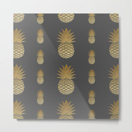 Pineapple gold on grey Metal Print