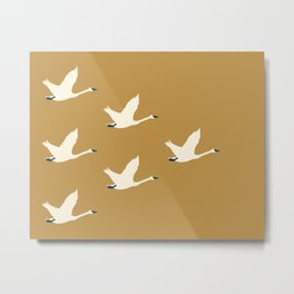 Tundra Swan (Mustard) Metal Print