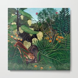 Henri Rousseau - Fight between a Tiger and a Buffalo Metal Print