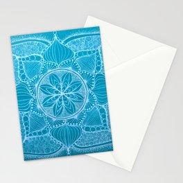 Teal & White Hand-drawn Mandala Stationery Cards