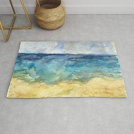 Lake Michigan Beach Watercolor Rug