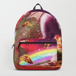 Laser Eyes Outer Space Dragon Riding Llama Unicorn Backpack