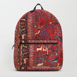 Tree of Life Beautiful Flower Garden Persian Khorassan Rug Print Backpack