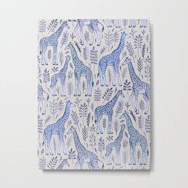 Blue Giraffe Pattern Metal Print