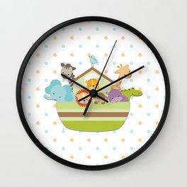 Noah's Ark - White Background Wall Clock