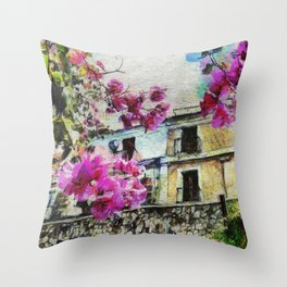 Vintage street in calabria Throw Pillow