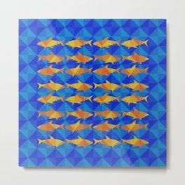 Orange Sharks On Blue Square. Metal Print