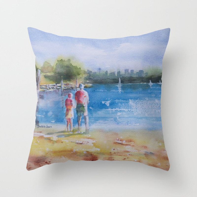 Beautiful Day At Camp Cove Throw Pillow by Debbielewiswatercolors PLW7783467