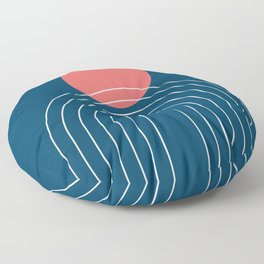 Mid Century Modern Geometric 14 (in Midnight Blue and Coral) Floor Pillow
