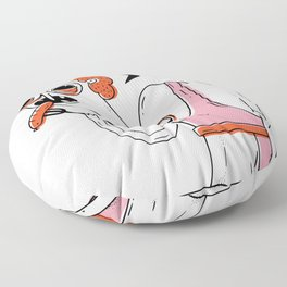 Creepy woman eating bratwurst Floor Pillow